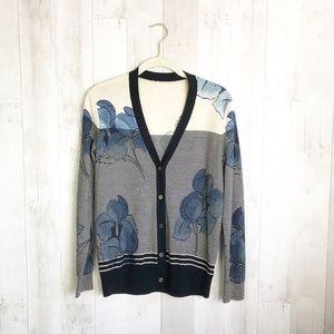 [Tory Burch] Wool Striped Floral Cardigan Sweater